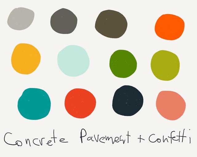 Color Palette – Concrete Pavement & Confetti