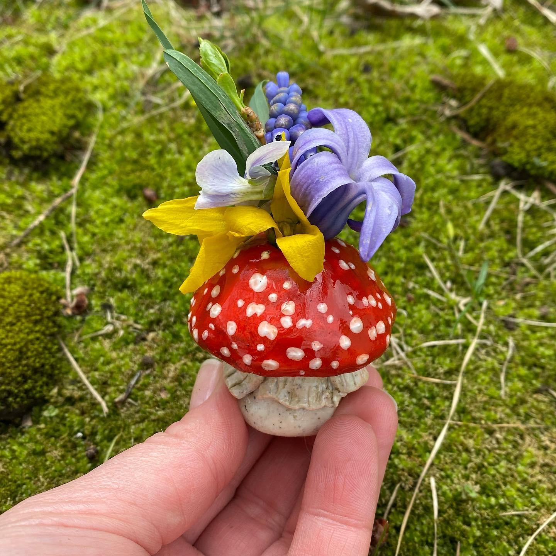 Mushroom Bud Vase